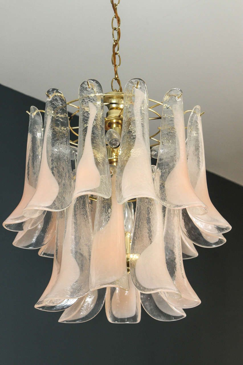 Murano Glass Petal Chandelier From A Unique Collection Of