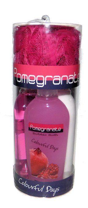Pomegranate Scent Bath Gift Set - Shower Gel, Bath Lotion, Bubble Bath and Spa Scrubby Puff