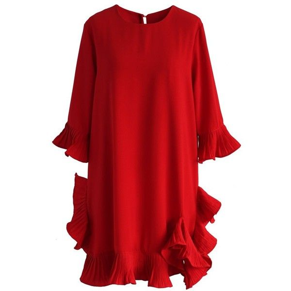 Chicwish My Heart Will Frill On Red Dress ($53) ❤ liked on Polyvore featuring dresses, red, ruffle cocktail dress, red cocktail dress, keyhole dress, flutter sleeve dress and ruffle dress