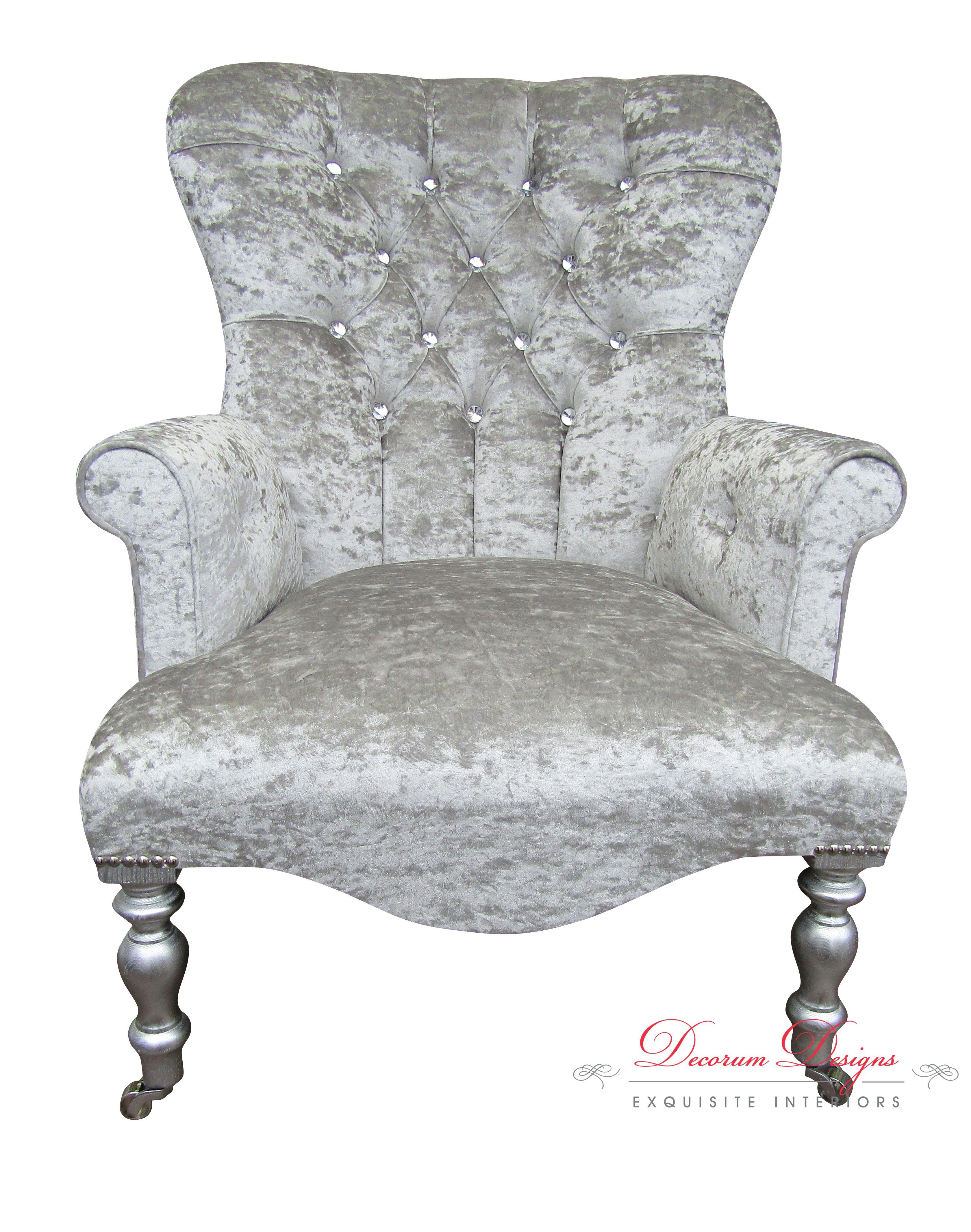Bespoke Crushed Velvet Silver Diamonte Button Back Arm Chair
