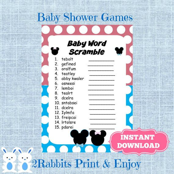 Gender Reveal Baby Shower Word Scramble With Answers Disney Baby
