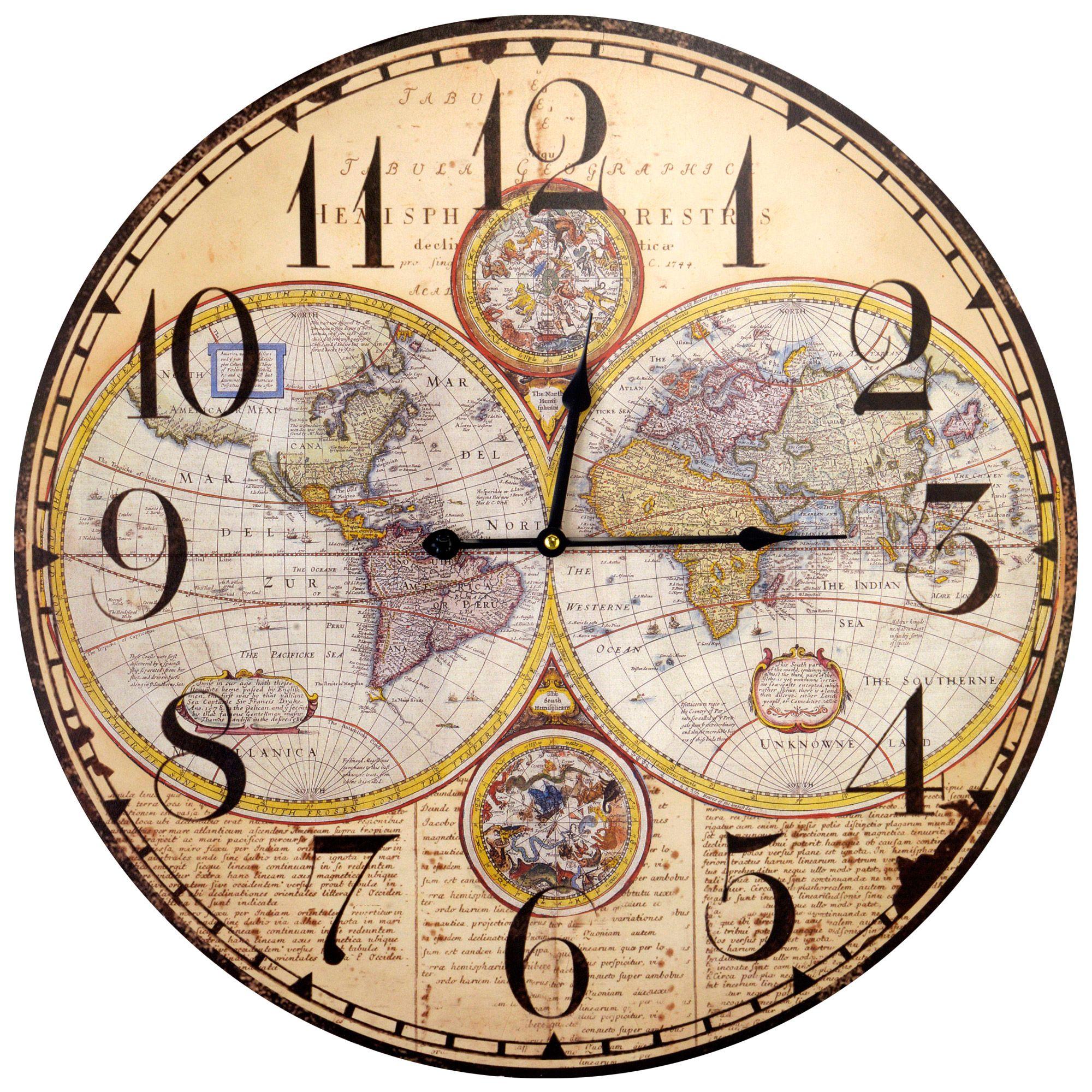 horloge murale ronde motif carte du monde ivoire et noir. Black Bedroom Furniture Sets. Home Design Ideas