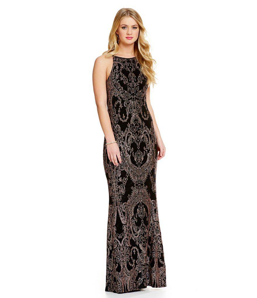 2ba91c1361b Jump High Neckline Glitter Slinky Long Dress