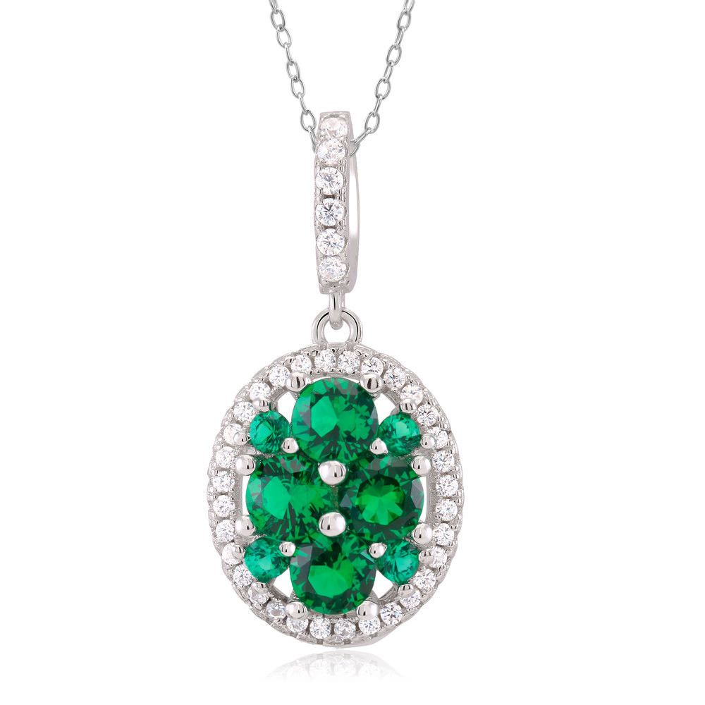 Beverly Hills Sterling Silver Green Cubic Zirconia Oval Pendant Necklace