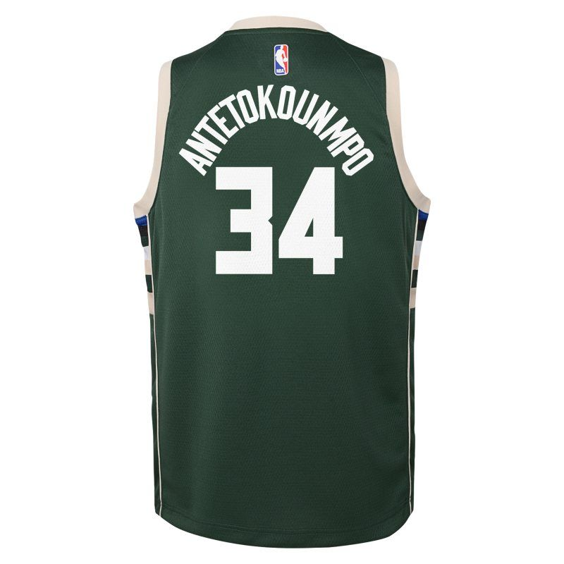 a60728601ae Giannis Antetokounmpo Milwaukee Bucks Nike Icon Edition Swingman Older Kids'NBA  Jersey - Green