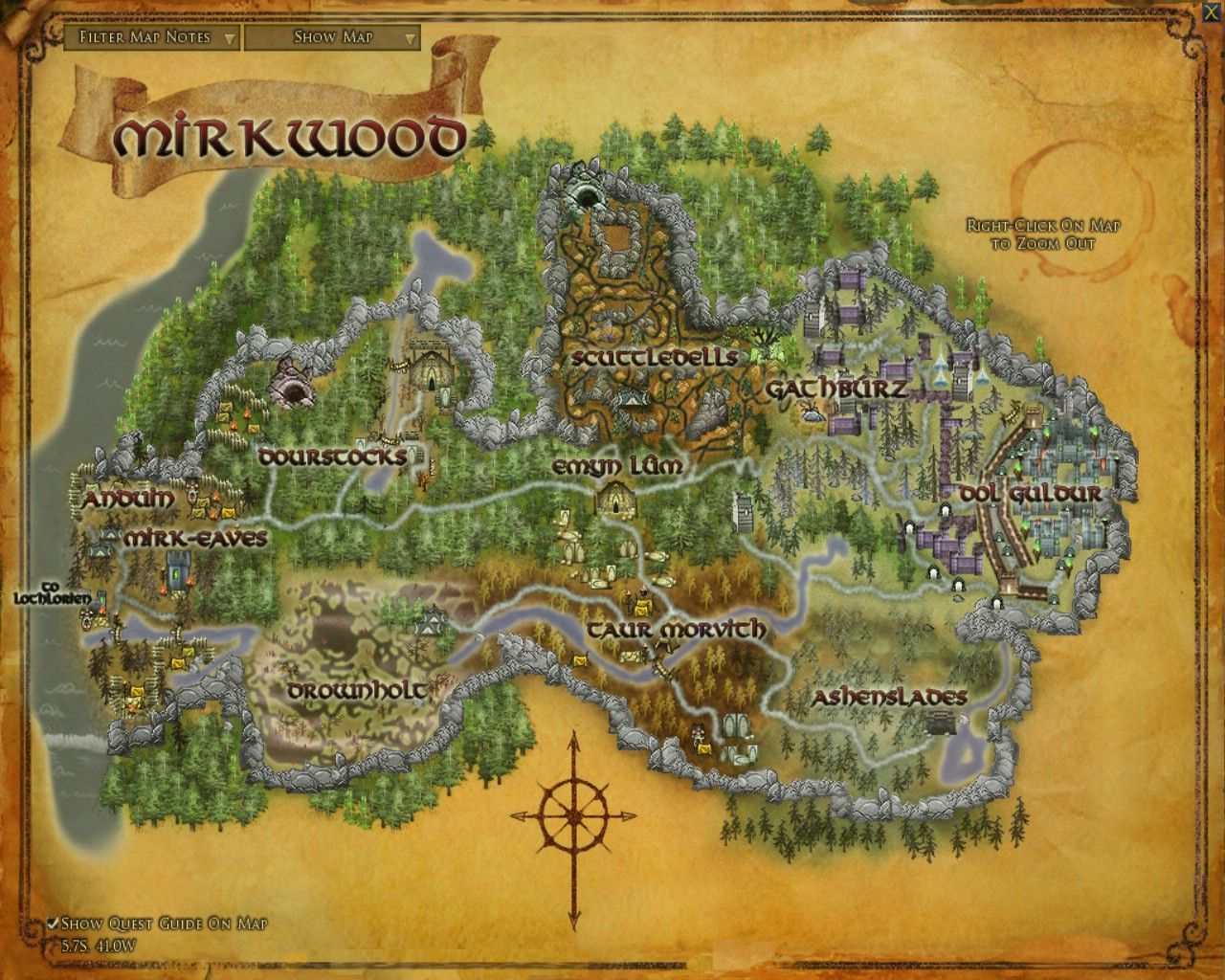 Mirkwood Maps Lord Of The Rings Online Zam