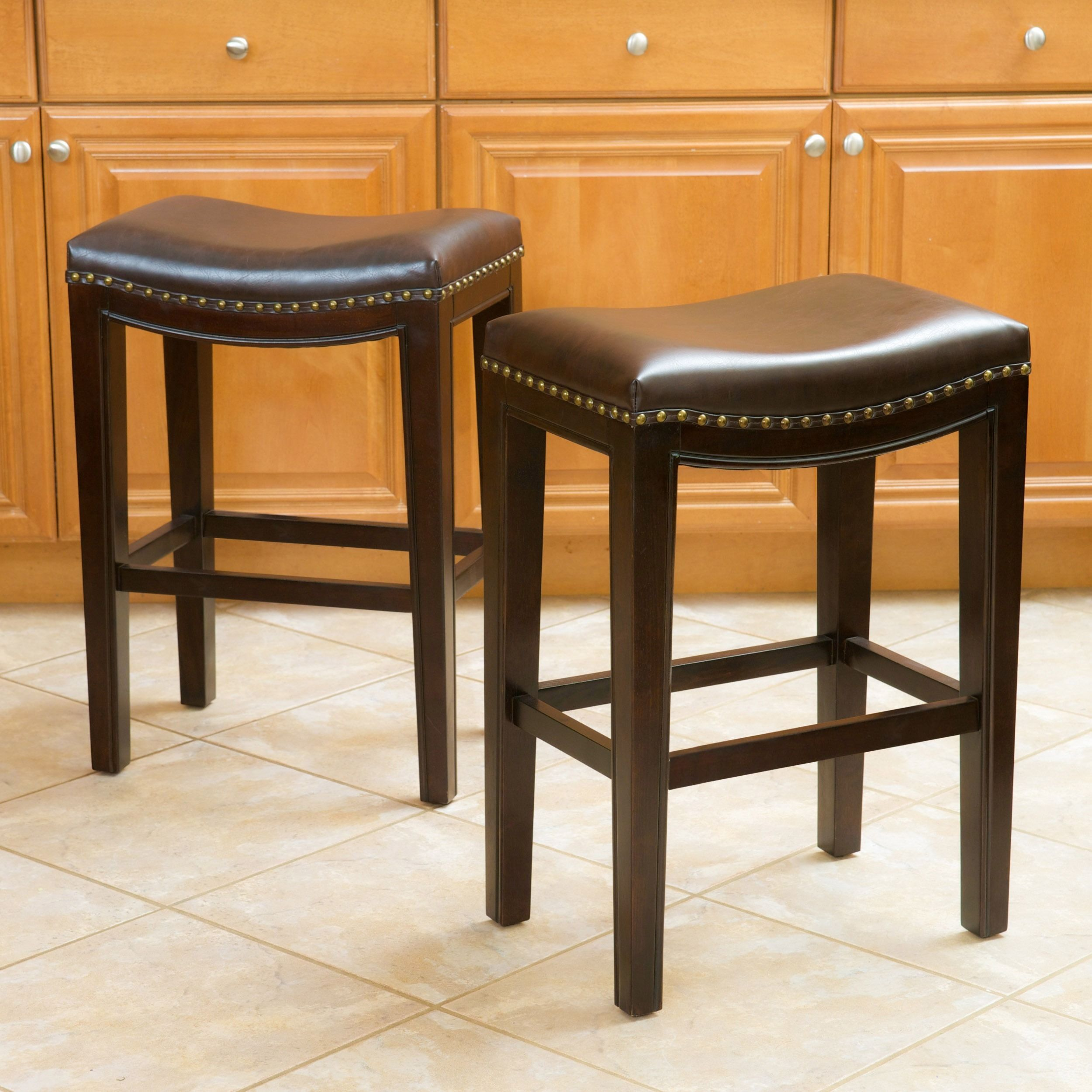 Avondale 26 Inch Brown Bonded Leather Backless Counter Stool Set Of 2 By Christopher Knight Home Leather Counter Stools Counter Stools Backless Bar Stools