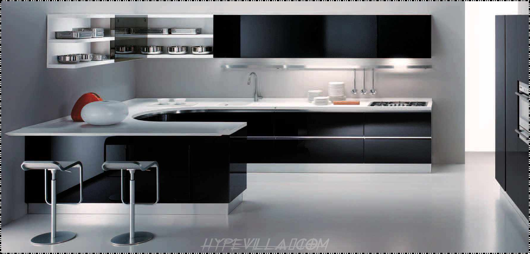 incredible black modern kitchen cabinets with white countertop wallmounted shelves two stainless steel bar stools