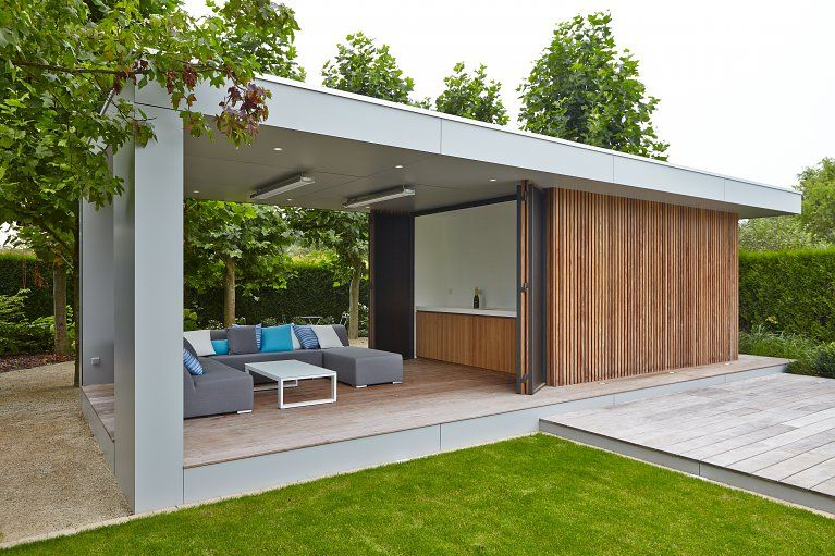 Modern Poolhouse in Trespa en hout Bogarden Moderne