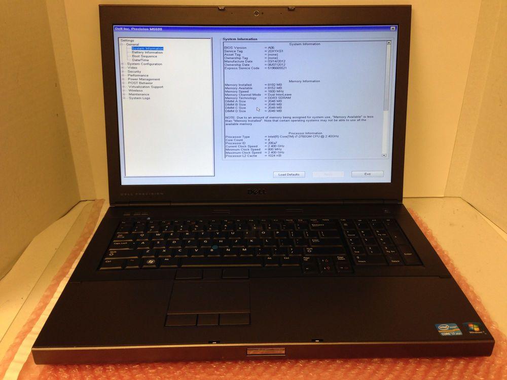 Details about Dell Precision M6600 Laptop i7 2720QM 2 2GHz