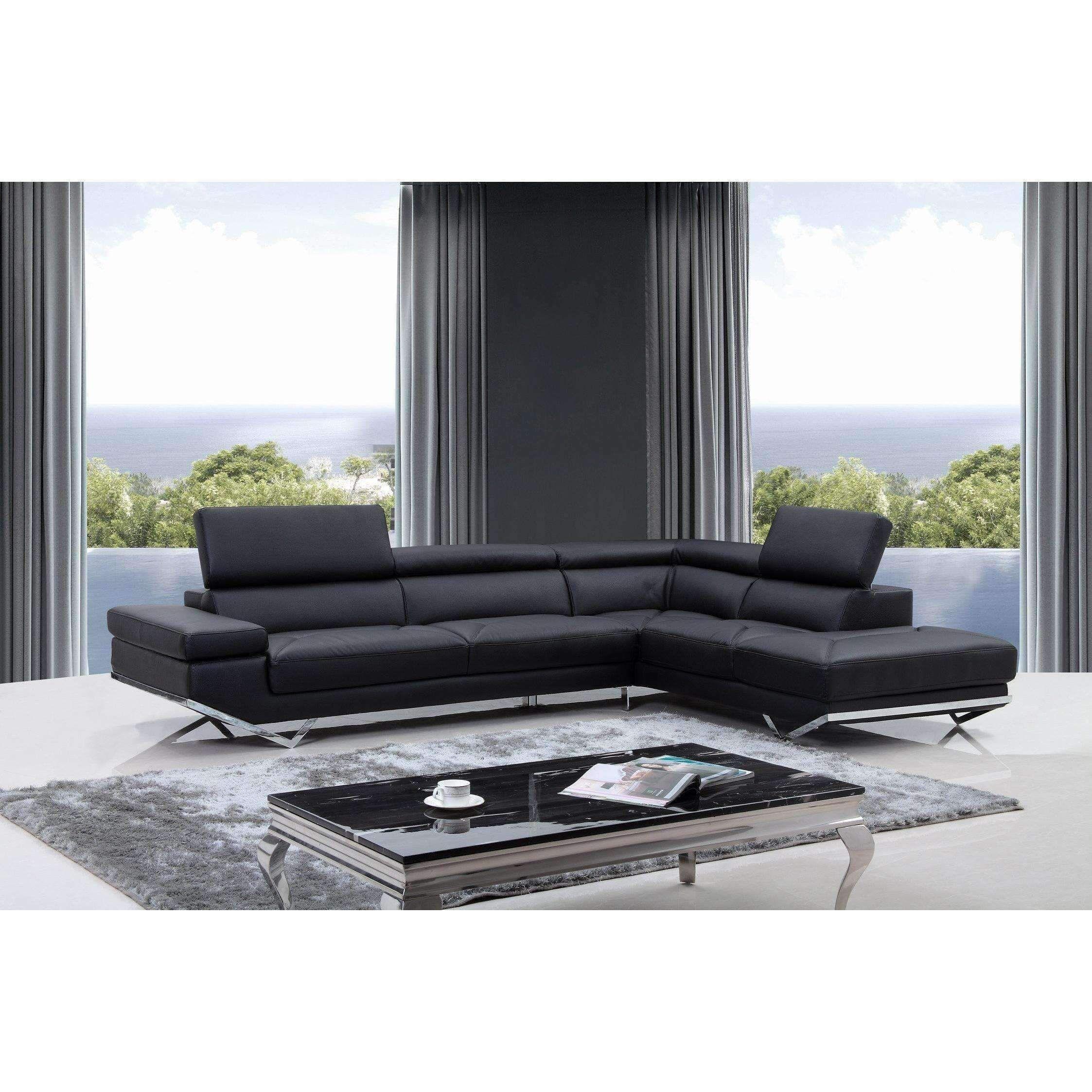Divani casa quebec modern black eco leather sectional sofa