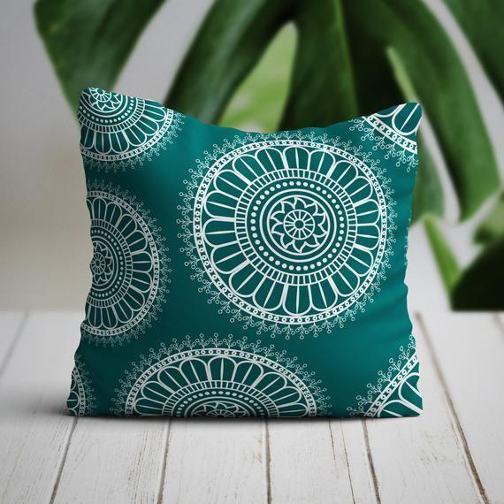Teal Mandala Pillow Cover | Boho Pillow | Mandala Pillow | Green Pillow | Teal Decorative Pillow | Teal Throw Pillow Cover | Boho Decor | Boho Pillow teal #14x1416x16 #MandalaPillow #ThrowPillowCover #18x1820x20 #TealBohoPillow #BohoDecor #DecorativePillow #BohoPillowcase #AccentPillow #TealPillowCover