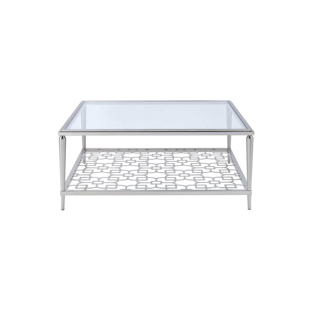 Acme Furniture Naiya 40 In Brushed Nickel Medium Square Glass Coffee Table With Shelf 81020 The Home Depot In 2021 Glass Coffee Table Coffee Table Square Glass Coffee Table [ 1000 x 1000 Pixel ]