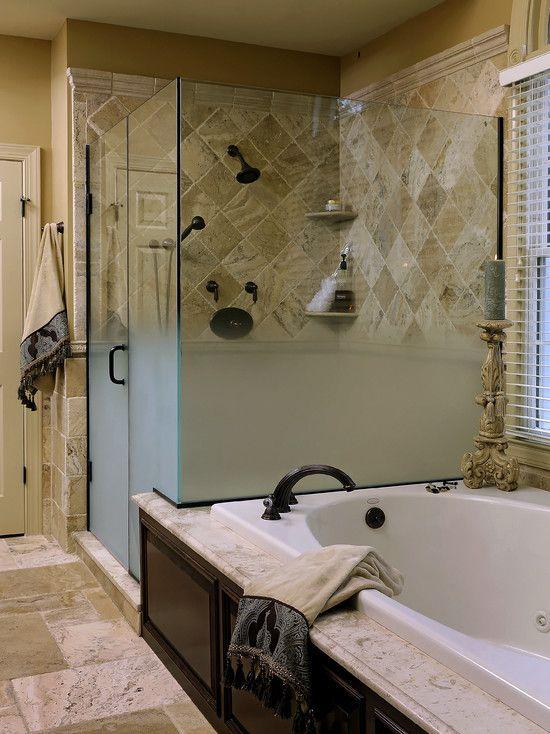 Traditional Bathroom Travertine Tiled Bathrooms Design ...