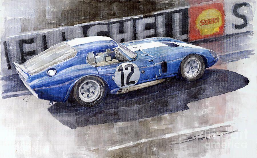 Yurly Shevchuk   WATERCOLOR      1965 Le Mans  Daytona Cobra Coupe