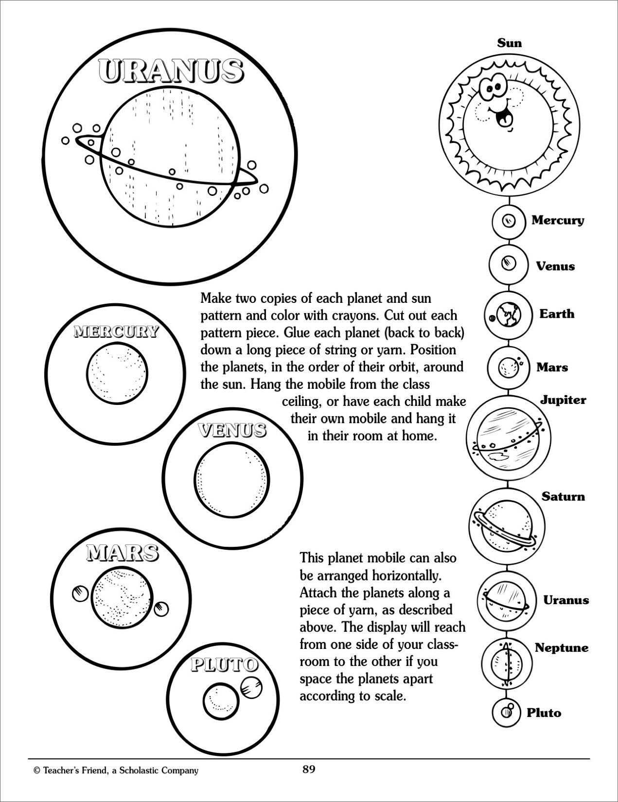 Solar System Mobile Scholastic Printables Crazy things