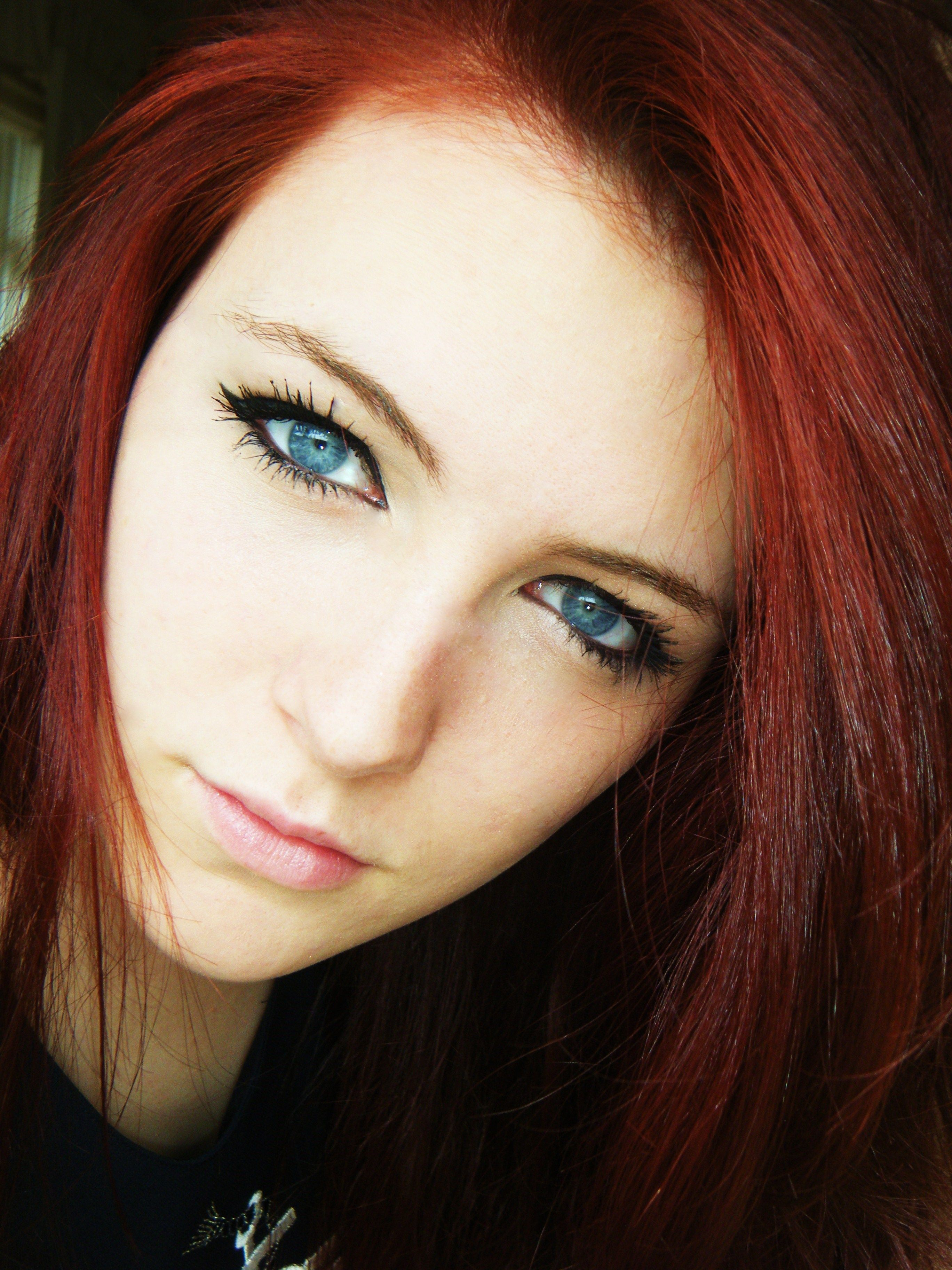 Pretty Girls With Natural Red Hair And Blue Eyes Portrait - red hair, b...