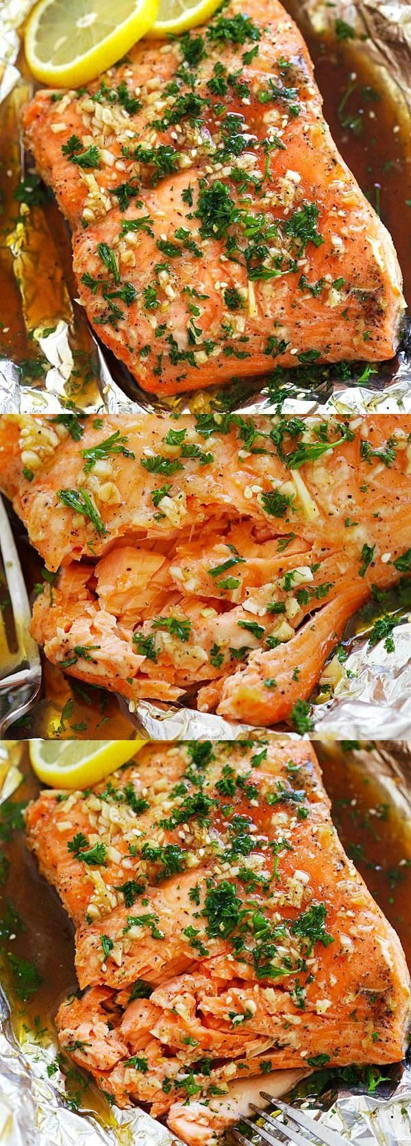 Soy Honey Butter Salmon – Easy roasted salmon recipe with soy sauce and honey butter. Moist, juicy a...