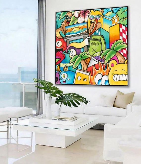Extra Large Pop Art Wall Art Colorful Wall Art Canvas Print Etsy In 2021 Colorful Wall Art Graffiti Wall Art Colorful Wall Art Canvas