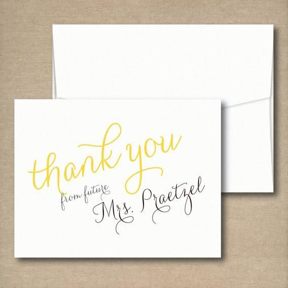 Bridal Shower Thank You Cards - Thank you from the Future Mrs Note