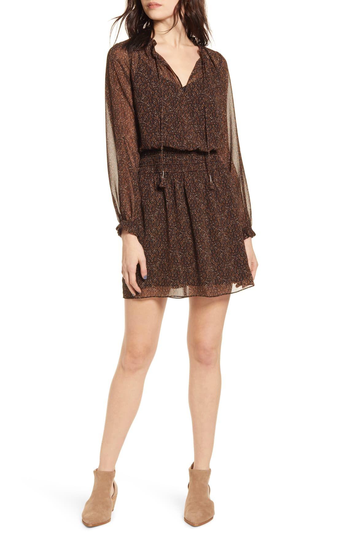 Socialite Long Sleeve Smocked Waist Chiffon Minidress Nordstrom Mini Dress Chiffon Long Sleeve Long Sleeve Sweater Dress [ 1746 x 1140 Pixel ]