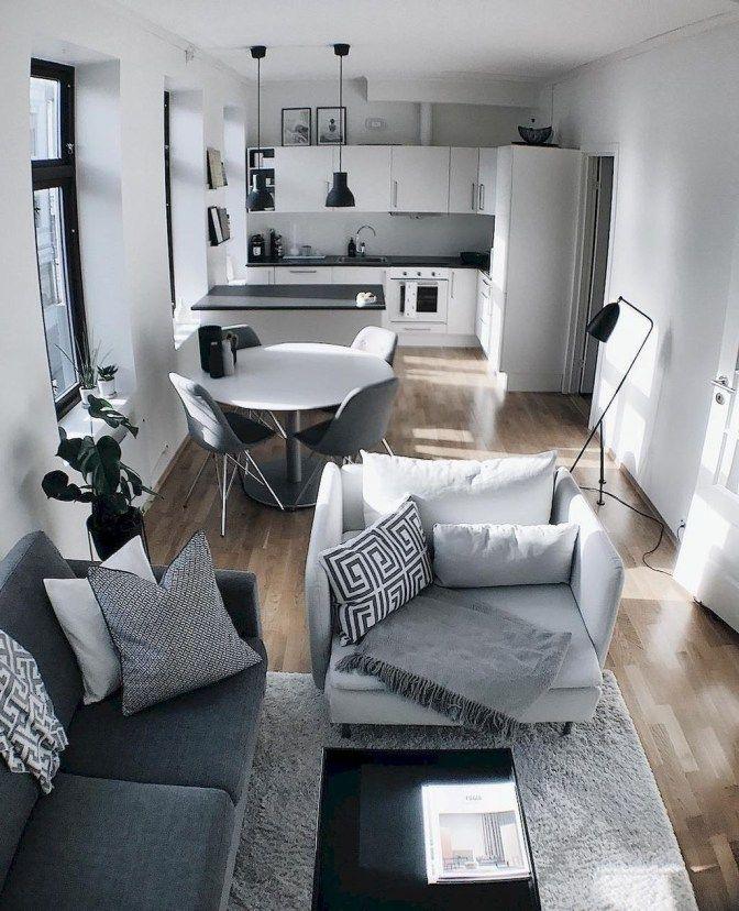 41 Beautiful Living Room And Kitchen Decorating Ideas Salas Pequenas Decoracao Casa Pequena Apartamentos Pequenos