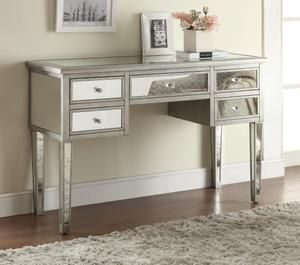 Antiqued Silver Mirrored Console Table With 5 Drawers By Coaster