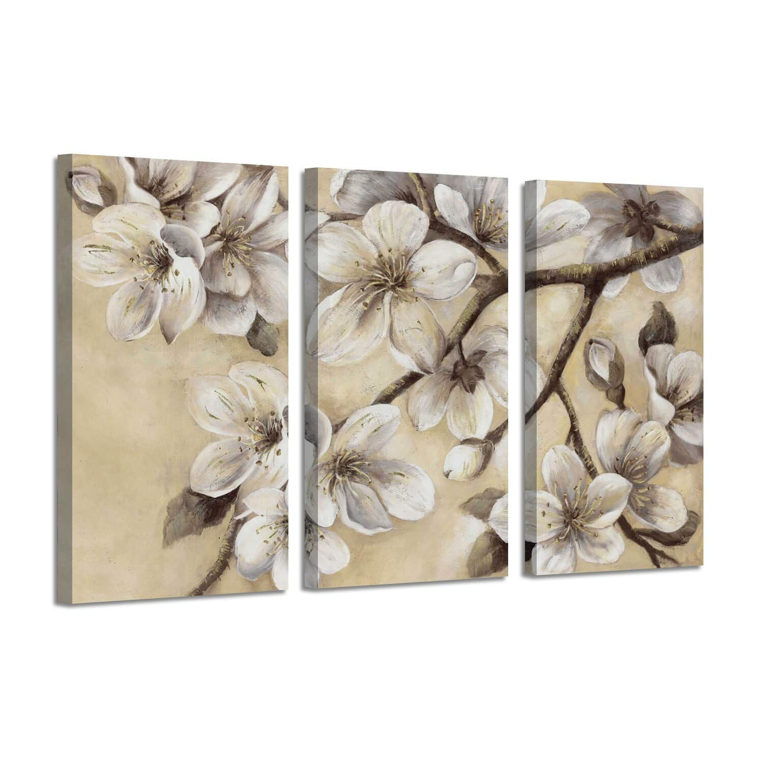 Abstract Floral Wall Art White Magnolia Flower Pictures Print On Canvas For Living Room Bedroom Floral Wall Art Canvases Wall Canvas Painting Canvas Wall Art