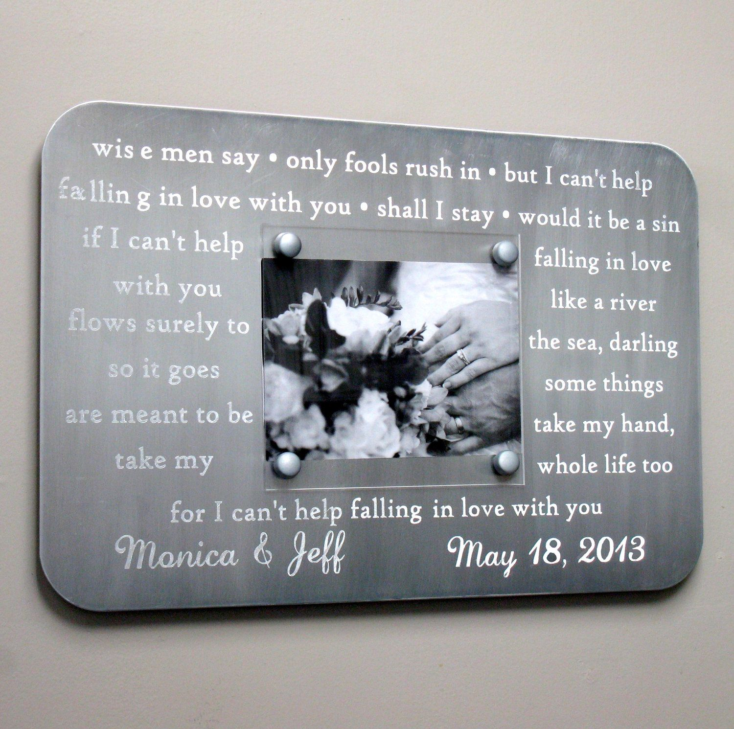Metal Wedding Song Frame Engraved Custom First Dance Picture Personalized Gift 10 Year Anniversary