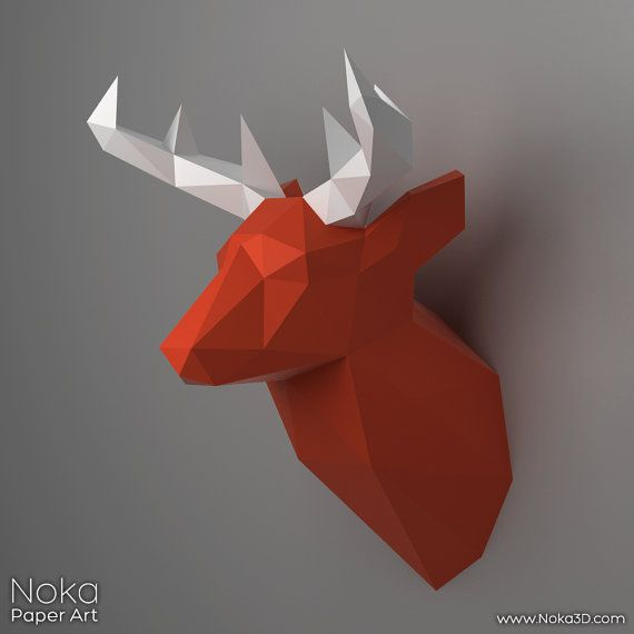 Deer Head Trophy  3D papercraft model. by NokaPaperArt on Etsy