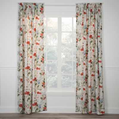 Buy Botanical Floral Rod Pocket 84 Inch Window Curtain Panel From Bed Bath Beyond Custom Drapes Floral Curtains Panel Curtains