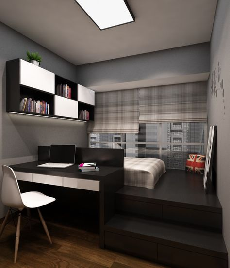 Photo of In this bedroom, the designer shows his wit for adding extra space and storage w…