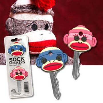 Sock MonKEYS Key Covers...cute way to tell your keys apart :)
