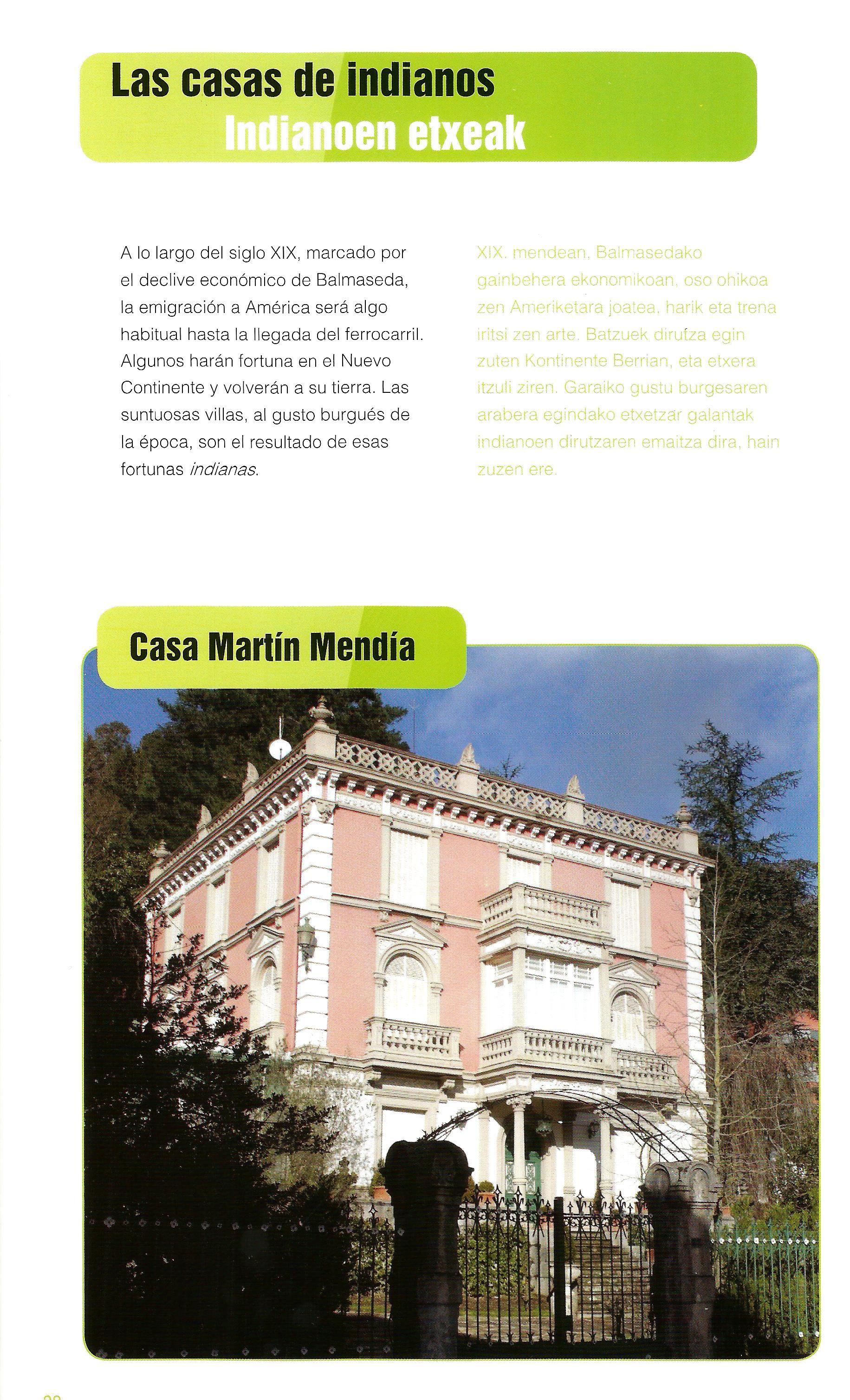 Las casas de indianos. Balmaseda Casa Martín Mendia A lo