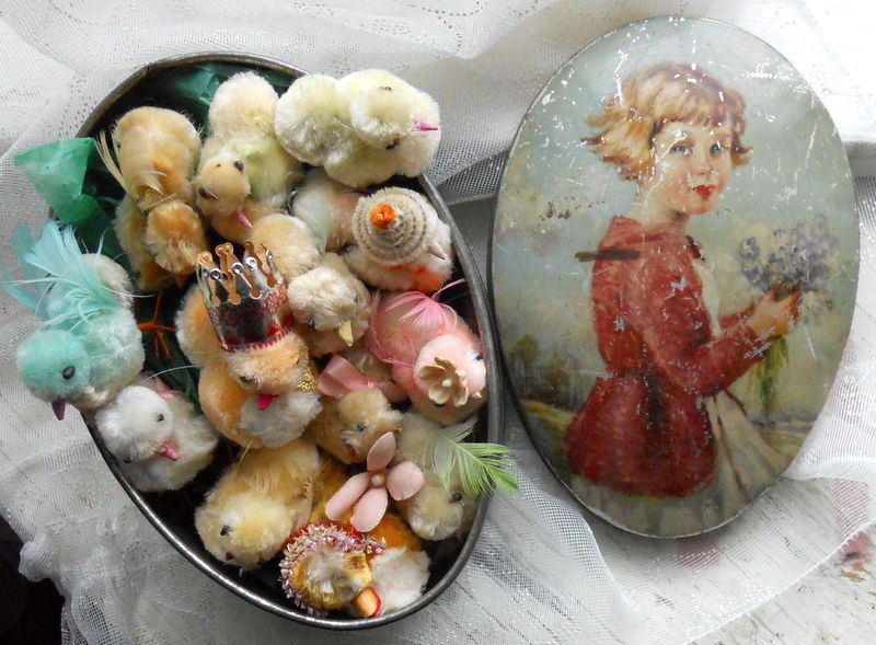 Baker's Dozen! Little CHENILLE CHICK CHICKS Lot in OLD EGG Shape EASTER TIN $123 sold eBay from 1940