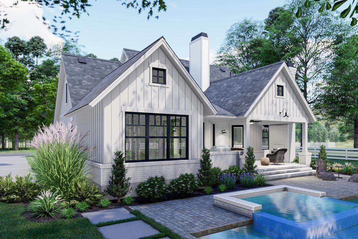 Plan 16921wg Compact Modern Farmhouse Plan With Two Bonus Rooms In 2021 Modern Farmhouse Plans Farmhouse Style House Plans Farmhouse Style House