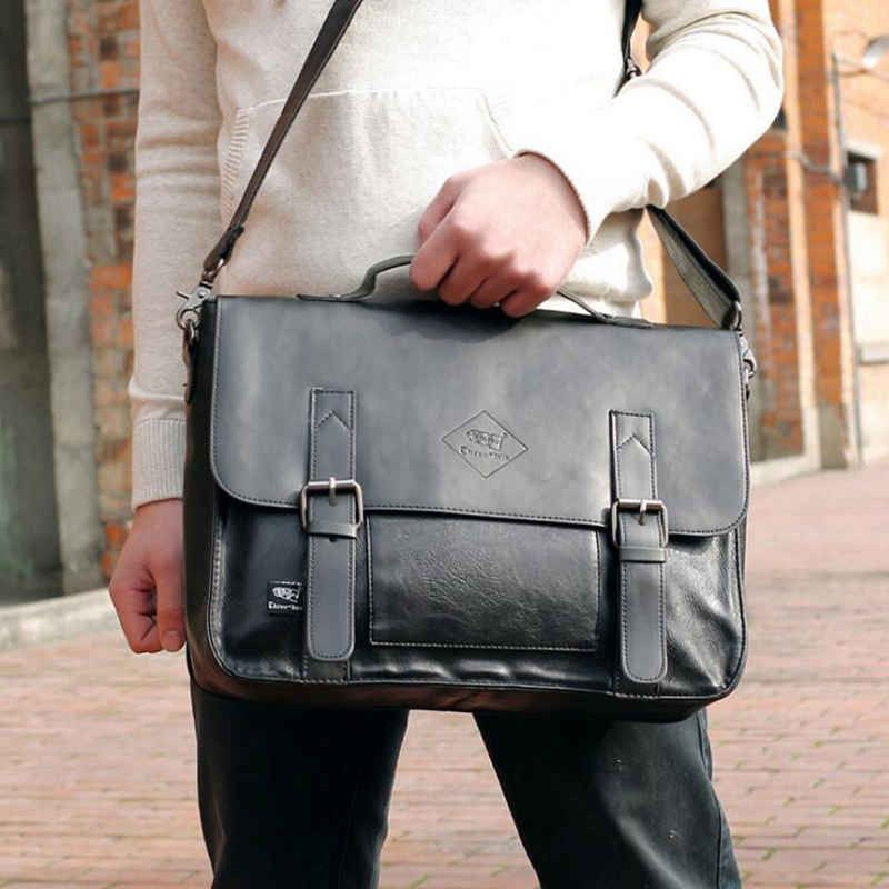 7bdfd2233d POLO VICUNA Famous Brand High Large Capacity Leather Mens Business Men  Leather Briefcase Bag