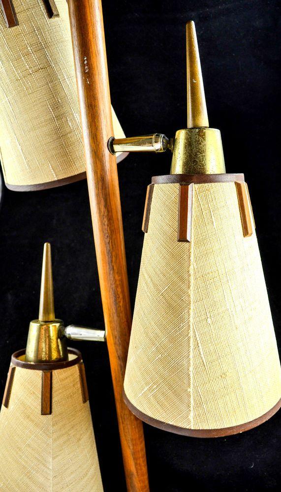 Vintage Mid Century Modern Tension Pole Lamp Teak And Brass Googie 1950 S Mid Century Modern
