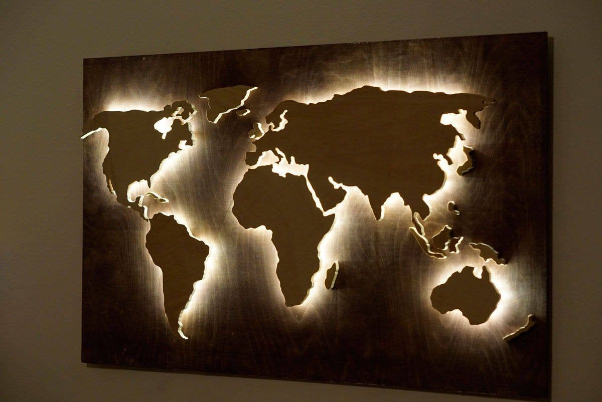 Wood World Map Wall Art Flat Earth Led World Map As Wall Decor And Art Decoration For Wall Hanging Ambient Light Decor In 2020 World Map Wall Art Wood World Map