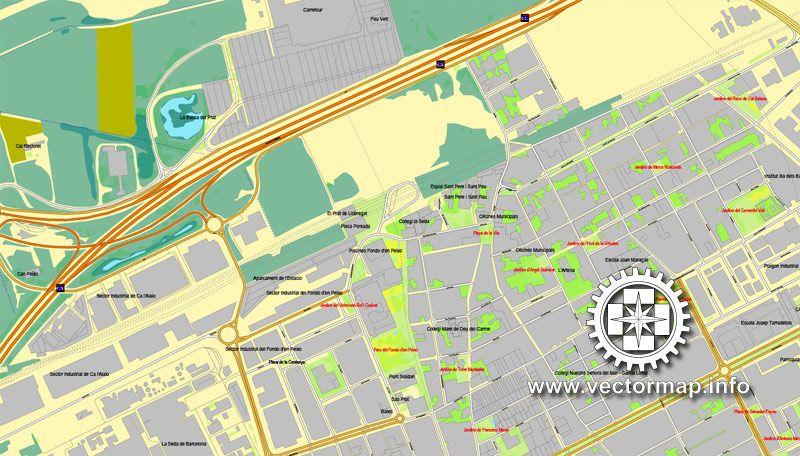 Barcelona Spain printable vector street City Plan map full