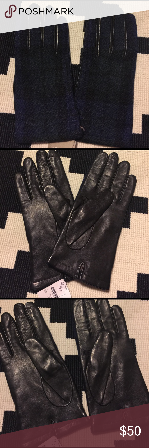 133c02dbd04 J Crew black watch   leather gloves Sz m These leather gloves are lined  completely in