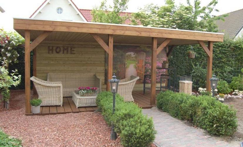 Prieel met plat dak zithoek tuin pinterest gardens - Mezzanine onder het dak ...