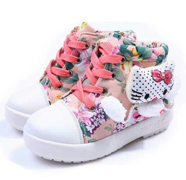 Sh051 Sepatu Boots Anak Cewek Hellokitty Motif Bunga Size 26 27 28