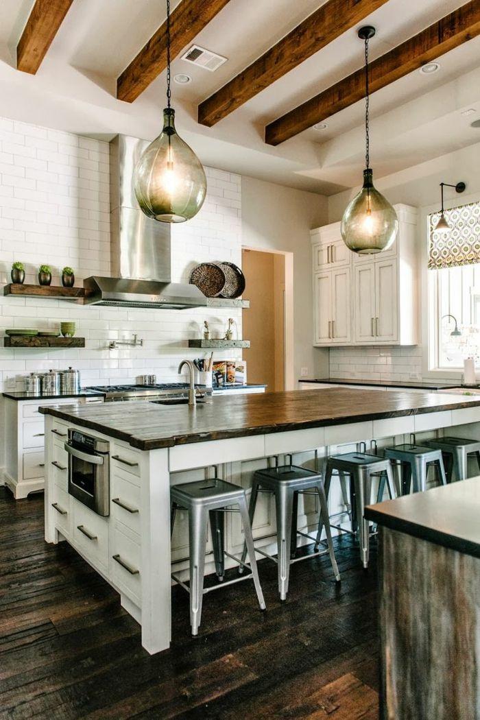 La poutre en bois dans 50 photos magnifiques! | Cuisine moderne ...
