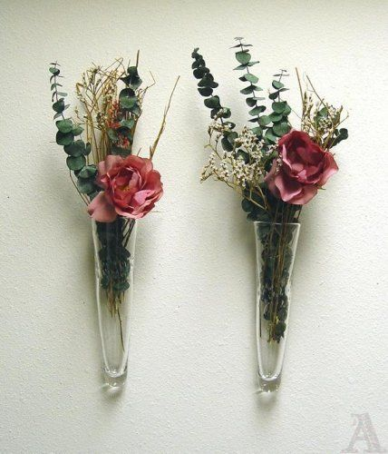 Wall Sconces With Flowers: Set Of Glass Pocket Wall Sconce Vases For Flowers By