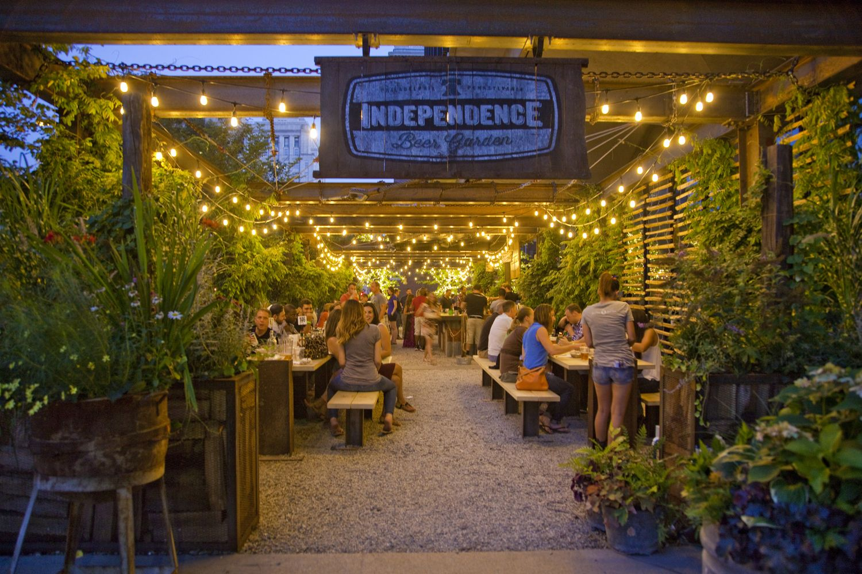 Independence Beer Garden in Philadelphia at night