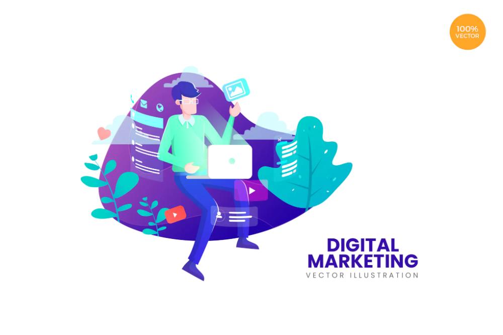 Digital Marketing Vector Illustration Concept By Naulicrea On Envato Elements Digital Marketing Vector Illustration Illustration