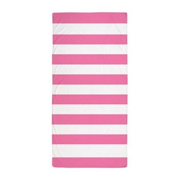 Bold Pink And White Stripes Beach Towel Striped Beach Towel