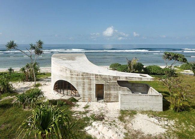 Designer Hotel Villa Beton-Südpazifik Australien-Reisen Ideen - schlichtes sauna design holz seeblick