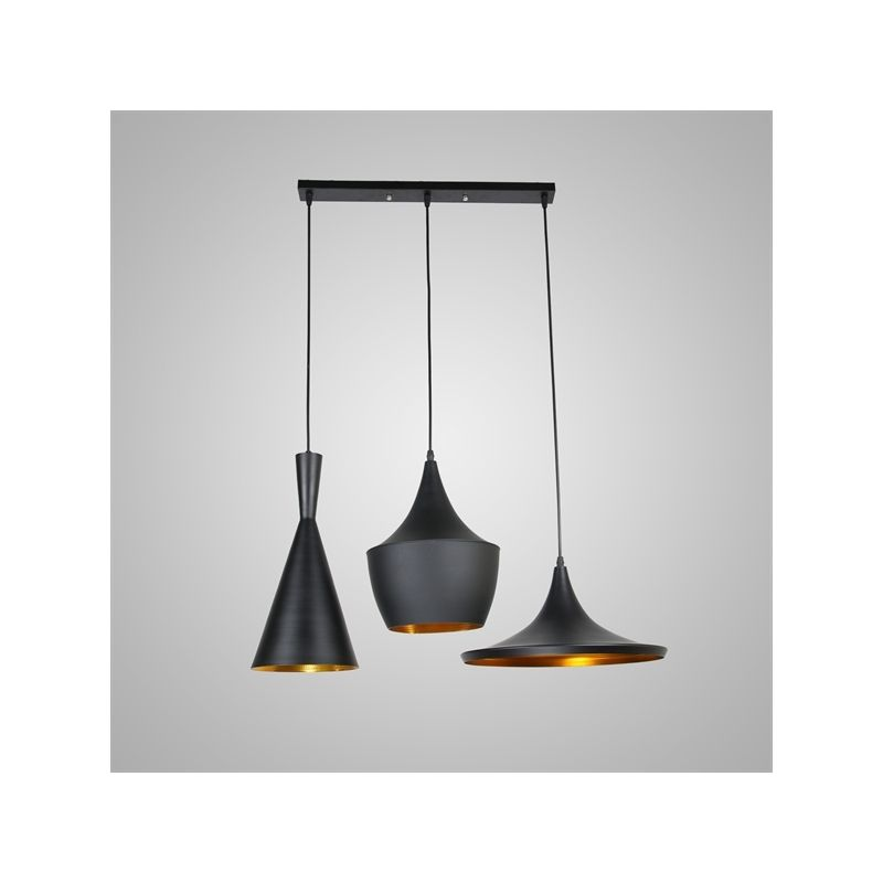 Lustre plafonnier 3 lampes suspensions style industriel for Luminaire noir suspension